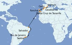 Itinéraire de la croisière Transatlantiques et Grands Voyages 2022 18 jours à bord du MSC Splendida