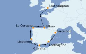 Itinéraire de la croisière Méditerranée 10 jours à bord du Celebrity Silhouette