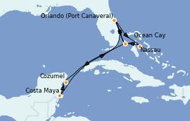 Itinéraire de la croisière Bahamas 11 jours à bord du MSC Meraviglia