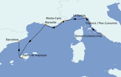 Itinéraire de la croisière Méditerranée 7 jours à bord du Riviera