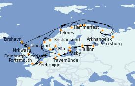 Itinerario de crucero Mar Báltico 33 días a bordo del MS Sirena