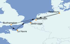 Itinéraire de la croisière Mer Baltique 8 jours à bord du MSC Magnifica
