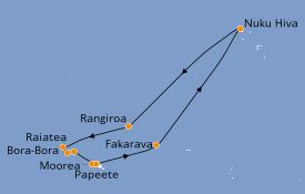 Itinéraire de la croisière Polynésie 12 jours à bord du Seven Seas Navigator