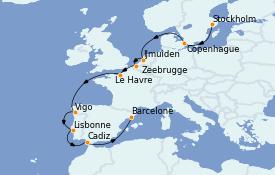 Itinéraire de la croisière Mer Baltique 14 jours à bord du Costa Favolosa