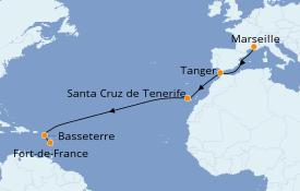 Itinéraire de la croisière Transatlantiques et Grands Voyages 2021 13 jours à bord du Costa Fascinosa