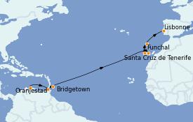 Itinéraire de la croisière Îles Canaries 15 jours à bord du MS Sirena