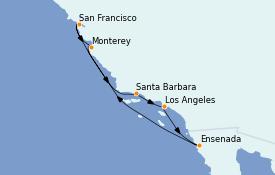 Itinerario de crucero California 8 días a bordo del MS Regatta