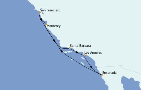 Itinéraire de la croisière Californie 7 jours à bord du Regatta