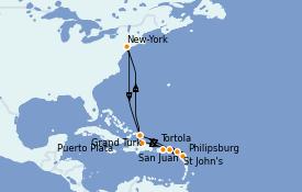Itinerario de crucero Caribe del Este 12 días a bordo del Norwegian Gem