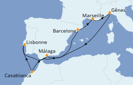 Itinéraire de la croisière Méditerranée 10 jours à bord du MSC Splendida
