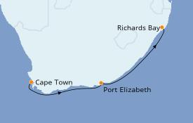 Itinéraire de la croisière Afrique 9 jours à bord du Le Lyrial