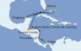 Itinéraire de la croisière Caraïbes de l'Ouest 12 jours à bord du Le Boréal