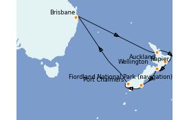 Itinéraire de la croisière Australie 2021 15 jours à bord du Coral Princess