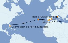Itinéraire de la croisière Méditerranée 15 jours à bord du ms Nieuw Statendam
