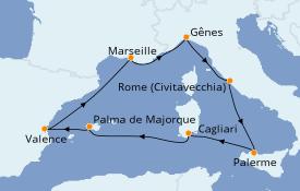 Itinéraire de la croisière Méditerranée 8 jours à bord du MSC Seaview