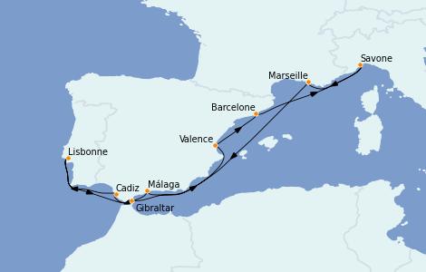 Itinéraire de la croisière Méditerranée 10 jours à bord du Costa Diadema