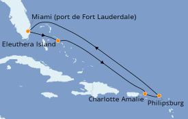 Itinéraire de la croisière Caraïbes de l'Est 8 jours à bord du Caribbean Princess