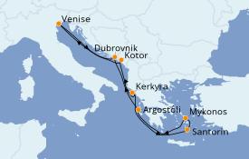 Itinéraire de la croisière Grèce & Adriatique 8 jours à bord du Norwegian Gem