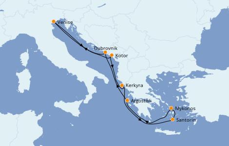 Itinéraire de la croisière Grèce & Adriatique 7 jours à bord du Norwegian Gem
