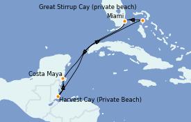 Itinéraire de la croisière Caraïbes de l'Ouest 6 jours à bord du Norwegian Breakaway