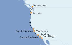 Itinéraire de la croisière Californie 8 jours à bord du ms Koningsdam