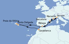 Itinéraire de la croisière Méditerranée 15 jours à bord du Costa Magica