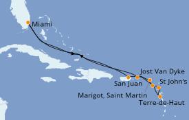 Itinéraire de la croisière Caraïbes de l'Est 12 jours à bord du Seabourn Sojourn