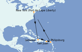 Itinéraire de la croisière Caraïbes de l'Est 10 jours à bord du Oasis of the Seas