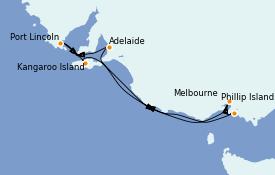 Itinéraire de la croisière Australie 2022 8 jours à bord du Sapphire Princess