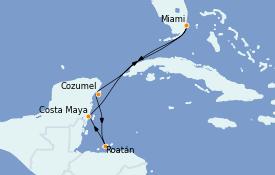 Itinéraire de la croisière Caraïbes de l'Ouest 7 jours à bord du Carnival Celebration