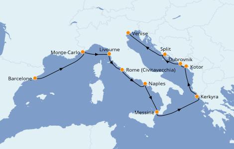 Itinéraire de la croisière Méditerranée 10 jours à bord du Norwegian Star