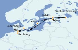 Itinéraire de la croisière Mer Baltique 10 jours à bord du Queen Victoria