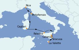 Itinerario de crucero Mediterráneo 8 días a bordo del Le Jacques Cartier