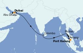 Itinéraire de la croisière Transatlantiques et Grands Voyages 2022 16 jours à bord du MSC Virtuosa