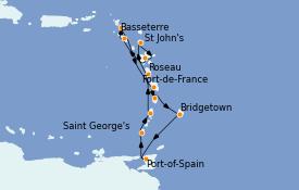 Itinéraire de la croisière Caraïbes de l'Est 12 jours à bord du Seven Seas Navigator