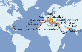 Itinéraire de la croisière Tour du Monde 2021 42 jours à bord du Island Princess