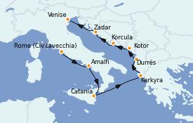 Itinéraire de la croisière Méditerranée 10 jours à bord du Seven Seas Voyager