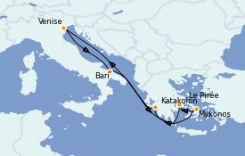 Itinéraire de la croisière Grèce & Adriatique 8 jours à bord du MSC Poesia