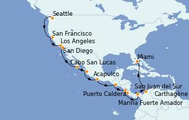Itinéraire de la croisière Riviera Mexicaine 22 jours à bord du Norwegian Encore