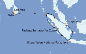 Itinéraire de la croisière Asie 15 jours à bord du Silver Cloud Expedition
