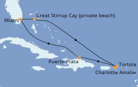 Itinéraire de la croisière Caraïbes de l'Est 8 jours à bord du Norwegian Encore