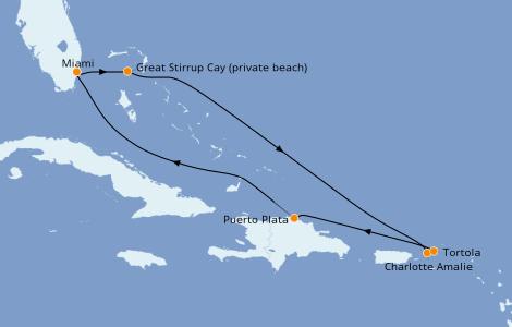 Itinéraire de la croisière Caraïbes de l'Est 7 jours à bord du Norwegian Encore