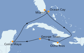 Itinéraire de la croisière Caraïbes de l'Ouest 8 jours à bord du MSC Armonia