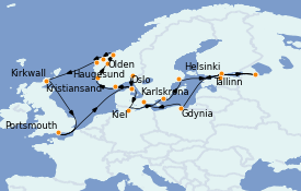 Itinerario de crucero Mar Báltico 23 días a bordo del MS Marina