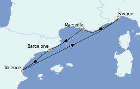 Itinéraire de la croisière Méditerranée 6 jours à bord du Costa Fortuna