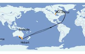 Itinéraire de la croisière Australie 2023 8 jours à bord du Queen Elizabeth