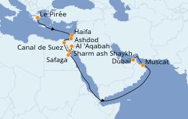 Itinéraire de la croisière Mer Rouge 18 jours à bord du Silver Spirit