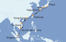 Itinéraire de la croisière Asie 16 jours à bord du Azamara Pursuit