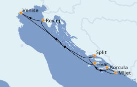 Itinéraire de la croisière Grèce & Adriatique 6 jours à bord du Le Lyrial