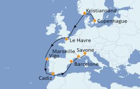 Itinéraire de la croisière Méditerranée 12 jours à bord du Costa Diadema
